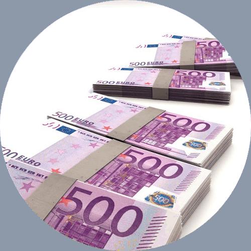 Kredite Geldscheine Bündel 500 Euro